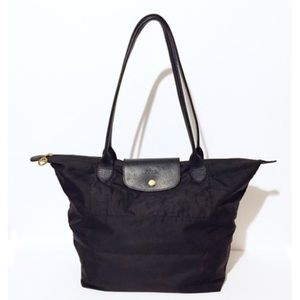 Longchamp black Le Pliage nylon tote long handle